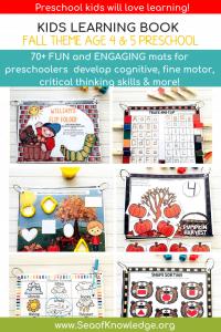 Fall Kids Learning Book Preschool Age 4 5