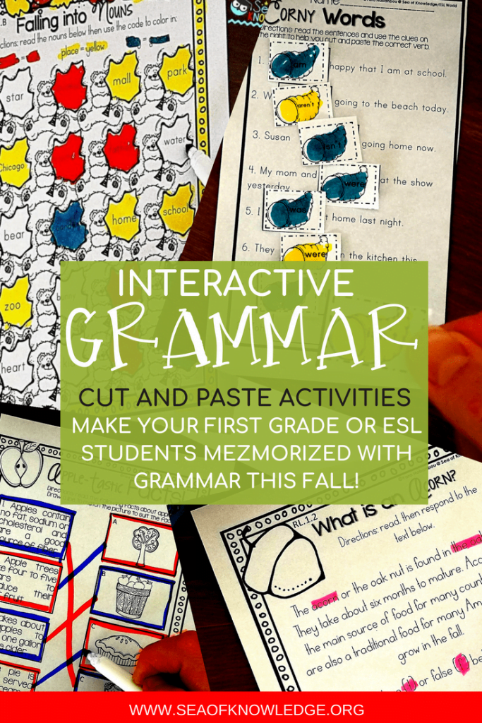 These English grammar activities will make for a FUN and exciting grammar practice in class, at home or even over the summer! These exciting fall themed printables will leave your students asking for more GRAMMAR activities! #freeprintable #ESL #grammar #firstgrade