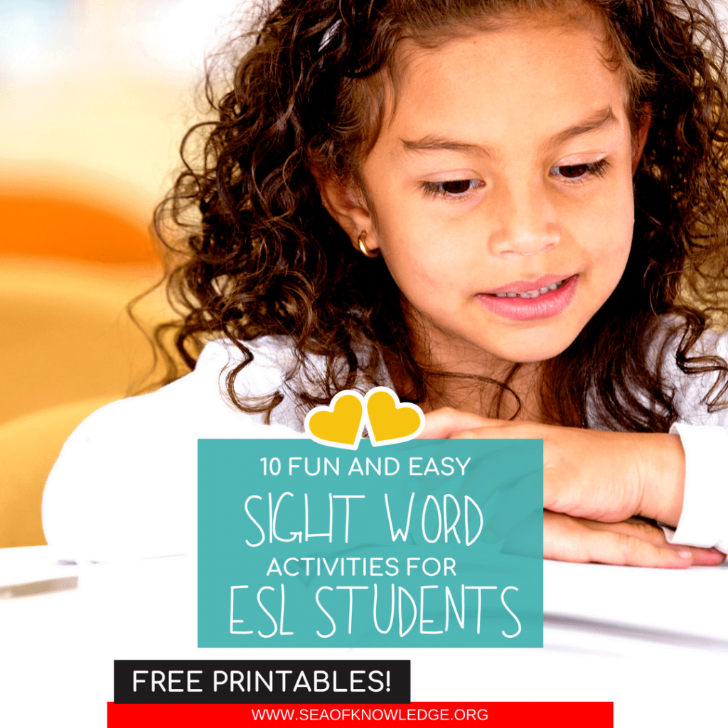 Teachers will LOVE these easy to prep activities to teach sight words for ESL students. Kids will build reading fluency with these highly engaging games! #ESL #teachers #kids #freeprintable