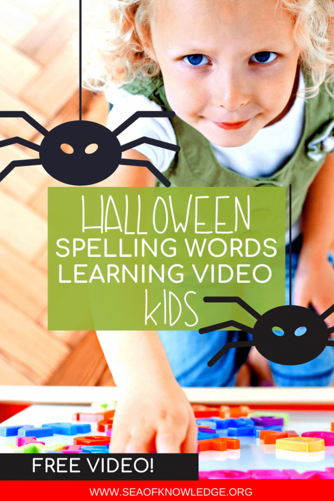 Click through to see a FUN video to teach Halloween spelling words to Kids. These videos include fun and SPOOKY stories which are sure to engage and have your kids learning this Halloween! #Halloween #kids #teachers #spelling #free #freevideos #learning #kindergarten #ES