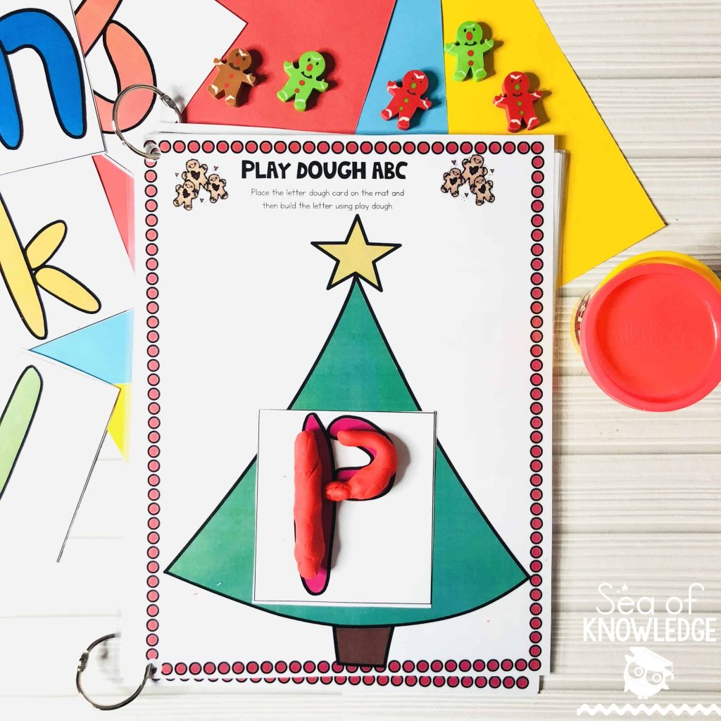 Christmas activities for children! Play Dough ABC Letter Building Mat (included in the Age 3-4 FREE book below) This activity will get kids choosing a letter card and then building the letters on the mat with play dough. How much fun would that be? They will never feel like they're learning! #freeprintable #free #preschool #kids #christmas #learning #kidsplay #teachers