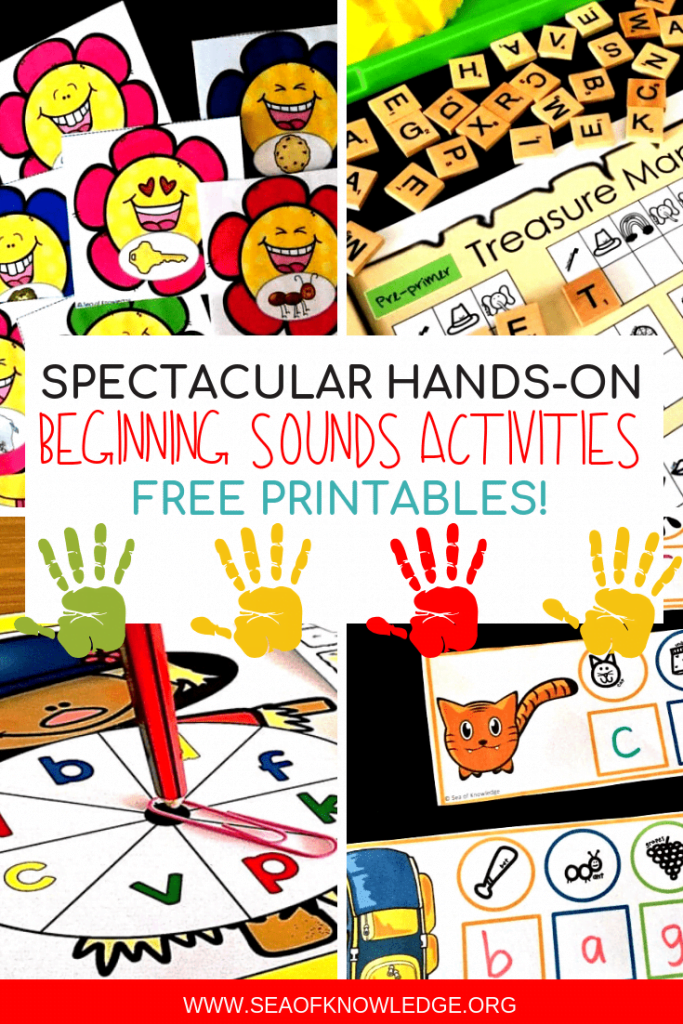 Beginning Sounds Activities can be LOTS of fun - if you incorporate play and fun hands-on activities! Download your free copy of over 20 beginning sounds activities here! #freeprintable #free #kids #teachers #kindergarten #preschool #beginningsounds