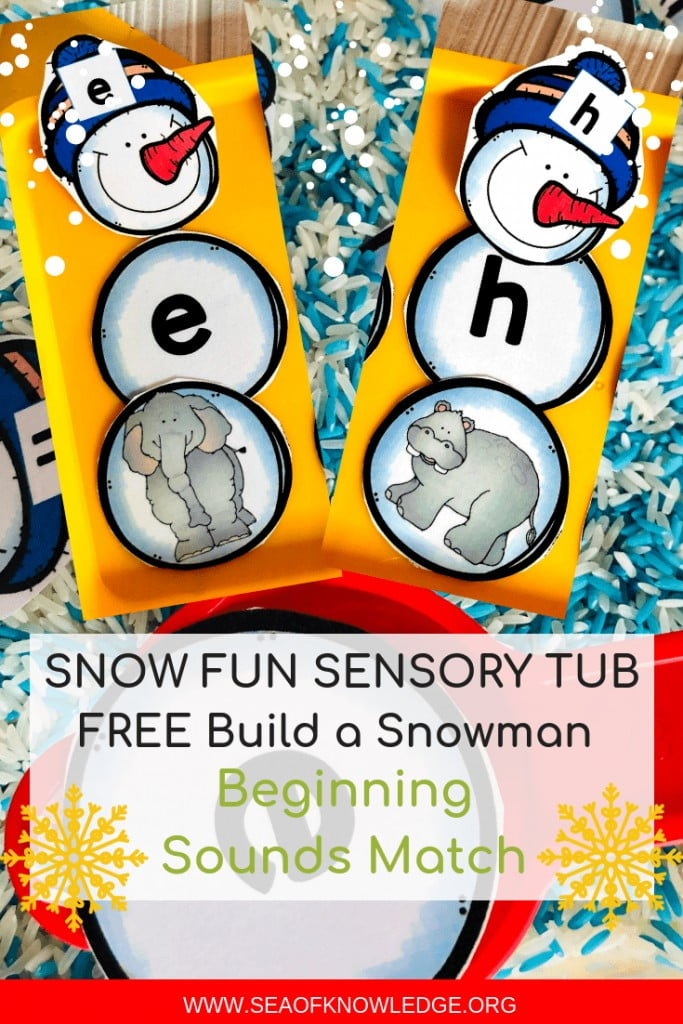 Beginning Sounds Activities - Build a Snowman Sensory Scoop Tub
