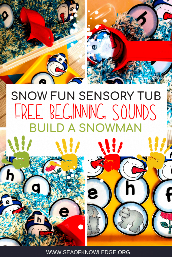 Beginning Sounds Activities can be LOTS of fun - if you incorporate snowmen and colourful play rice! Download your free copy of these alphabet snowman cards here!