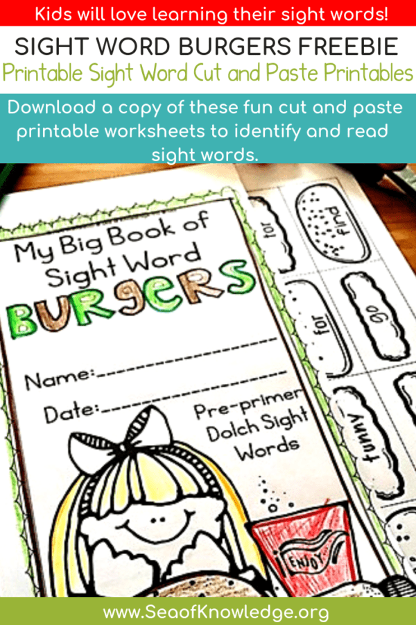 Printable Sight Word Worksheets Build a Burger