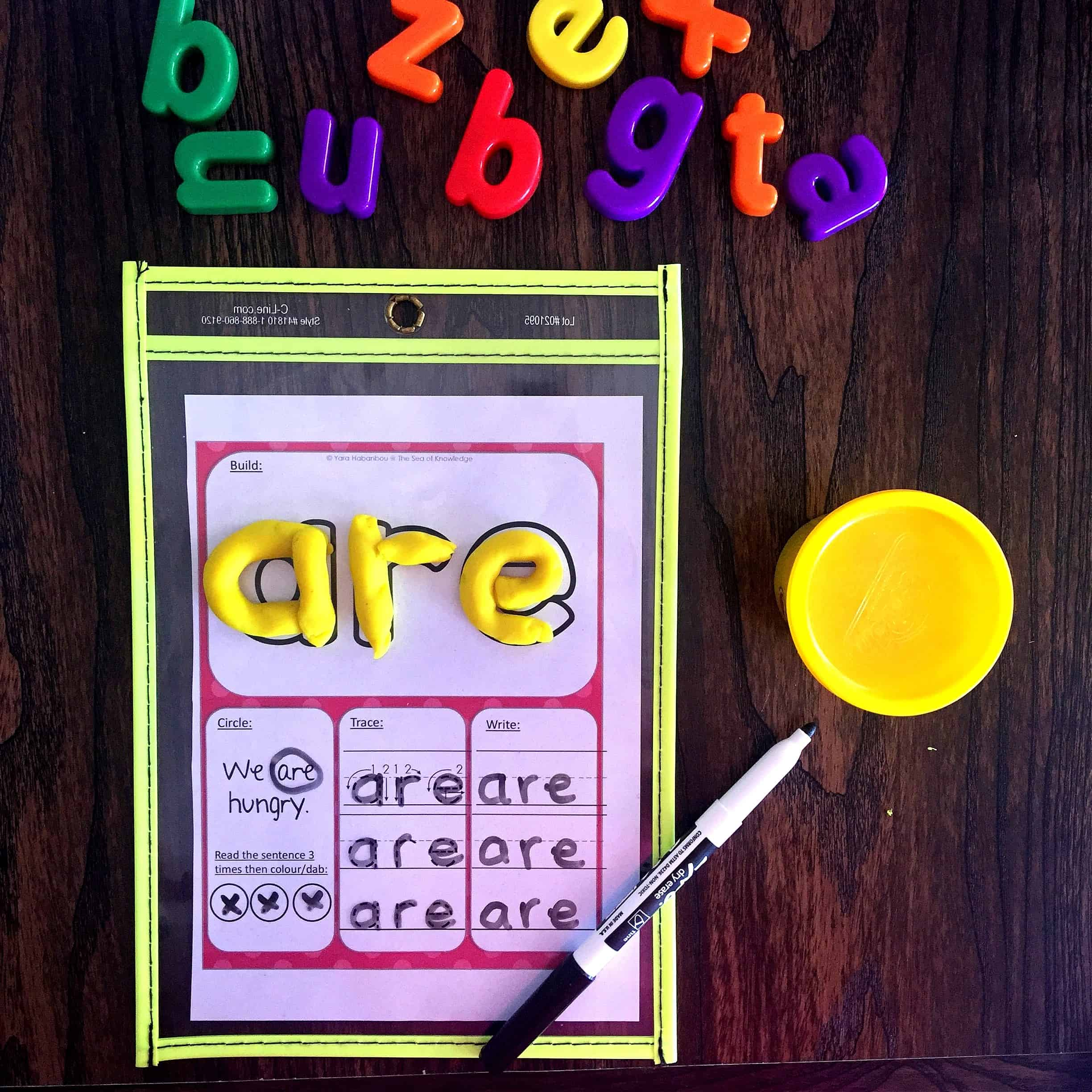 Sight Word Learning Play Dough Mats