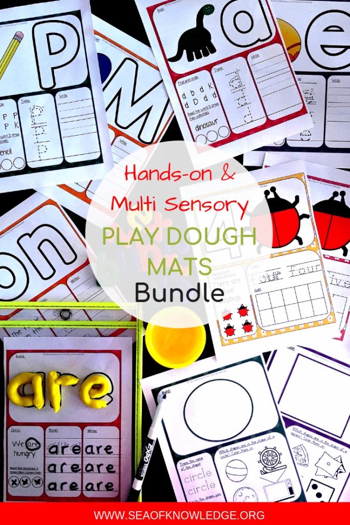 Children won't even realise they're learning as they enjoy these multi-sensory Play Dough Learning Mats! Perfect for at-home play or preschools, these simple activity learning mats will get kids working on forming sight words, letters, shapes, rhyming words, CVC words, numbers and more! #preschool #freeprintable #teachers #kindergarten #teaching #homeschool #homeschooling