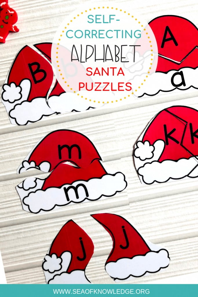 Santaalphabet matching cards. What do you get when you combinealphabet matching cards with a Santa theme? This great self-correcting puzzle activity will keep your students engaged for hours! #freeprintable #free #christmasforkids #kidsactivities #teachers #teaching #preschool #kindergarten