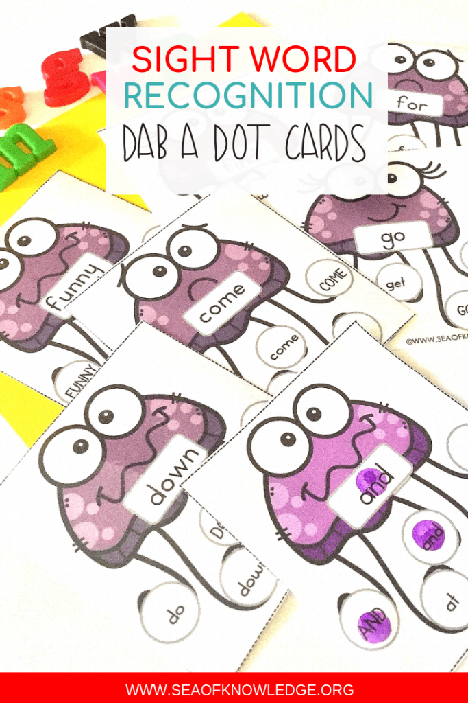 These Under the Sea Do a Dot letter recognition cards and sight word activities will get even the most reluctant students eager to learn their letters! Have bingo daubers? These are perfect for them. #sightwords #alphabet #teachers #preschool #kindergarten