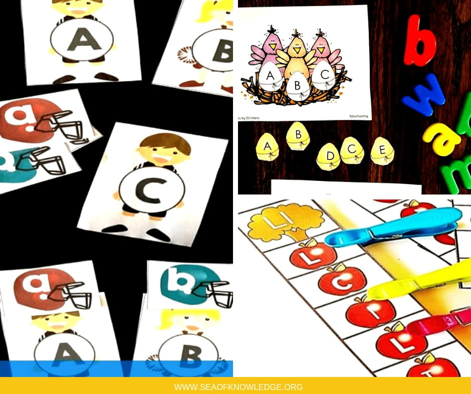 What do you get when you combinealphabet matching cards with many different colourful themes? Fun effortless learning games! Kids will love these spectacular hands-on alphabet activities! #freeprintables #teachers #preschool #kindergarten