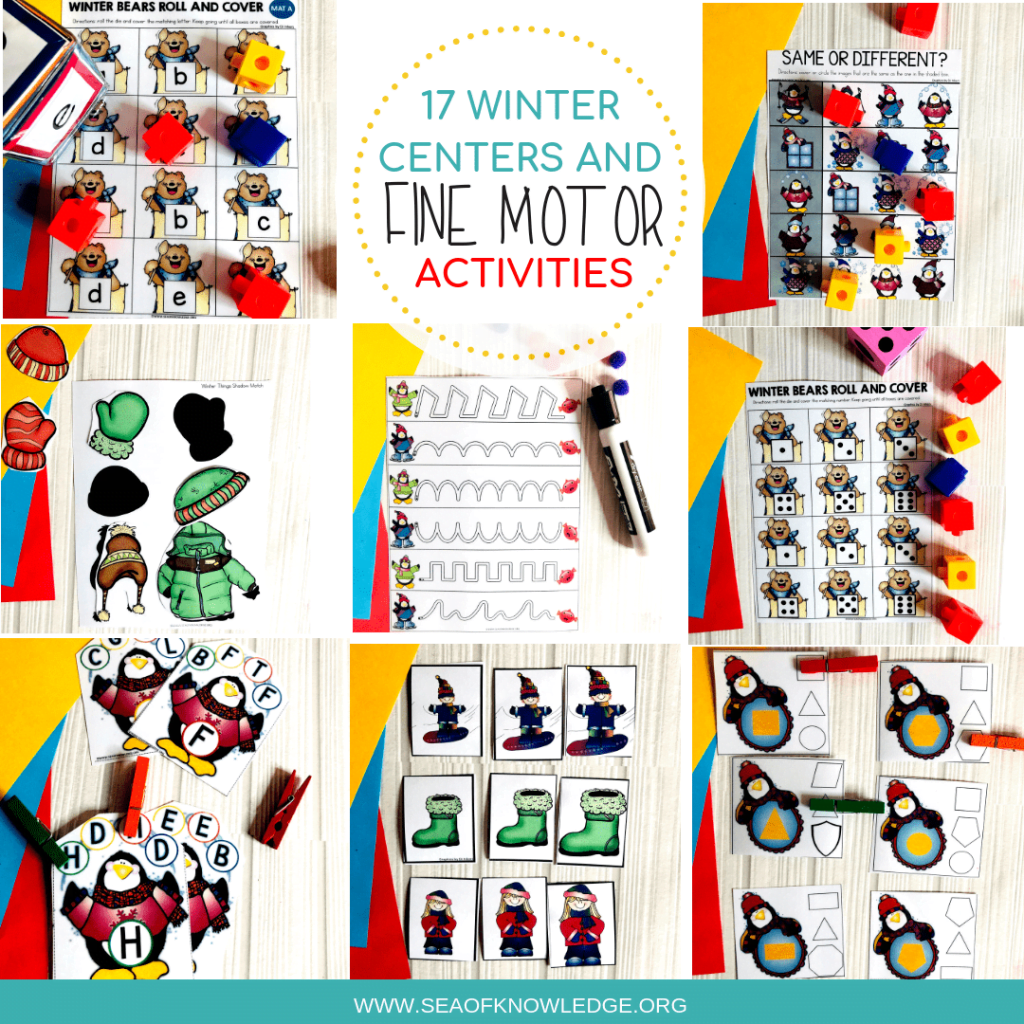 These Winter Activities for Preschoolers will be a hit with you preK students! Not only will they practice hands on math and literacy but they will also develop all those important fine motor skills. Download your freebies from the blog post! #freeprintables #free #kids #toddlers #preschool #teachers #winteractivities