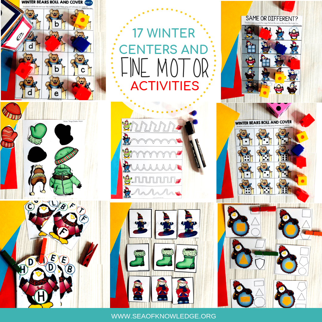 Winter Fine Motor Skills for 3 Year Olds – Fantastic Centers and Free Downloads!
