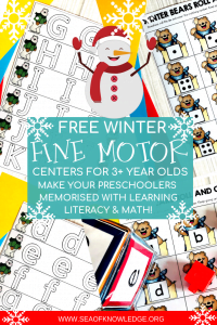 These Free Winter Activities for Preschoolerswill be a hit with you preK students! Not only will they practice hands on math and literacy but they will also develop all those important fine motor skills.