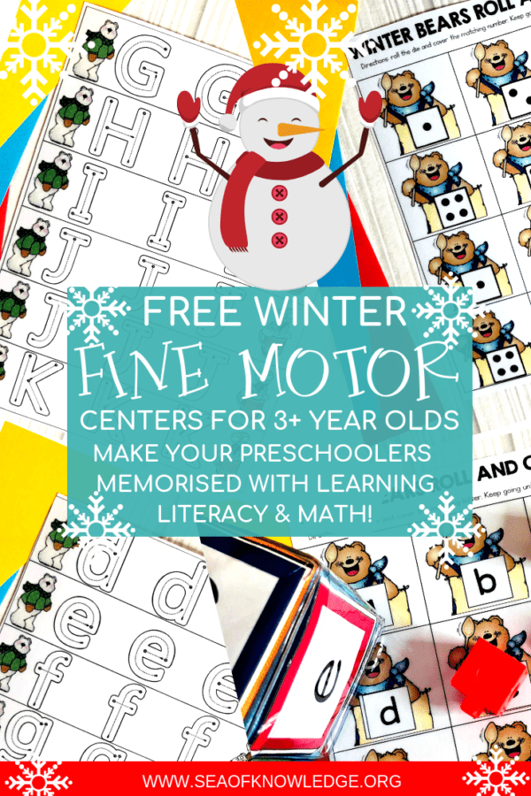 These Free Winter Activities for Preschoolers will be a hit with you preK students! Not only will they practice hands on math and literacy but they will also develop all those important fine motor skills.