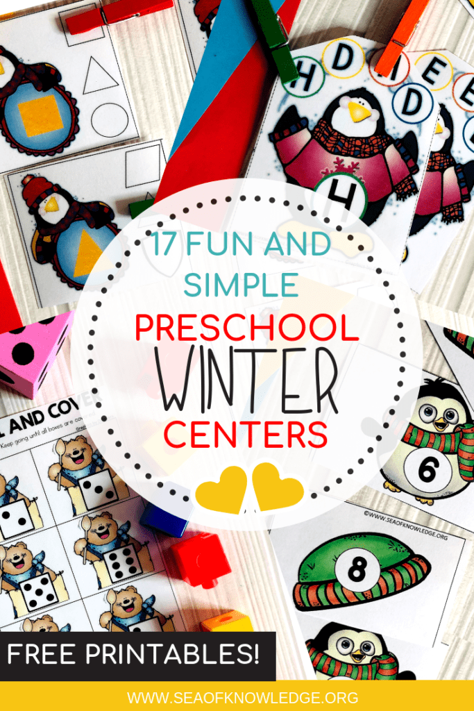 These Free Winter Activities for Preschoolerswill be a hit with you preK students! Not only will they practice hands on math and literacy but they will also develop all those important fine motor skills. #prek #preschool #toddlers #teachers #winteractivities #kids #freeprintable