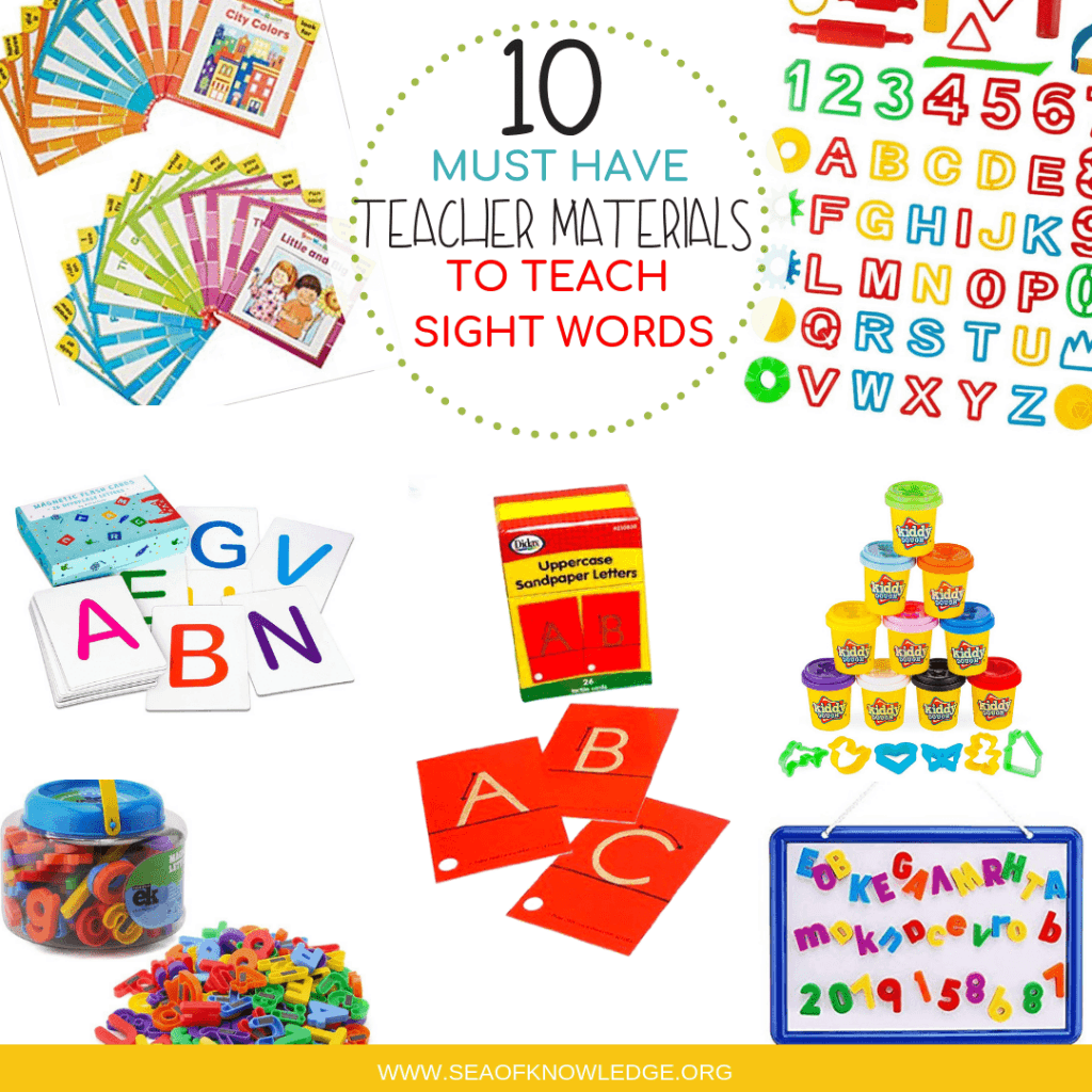 These 10 Must Have Supplies for Teaching Sight Words will make your daily activities and plans a breeze! Kids will love the hands-on activities and the materials are so versatile you can use them to teach multiple skills. #teacher #preschool #kindergarten #teachersupplies #sightwords