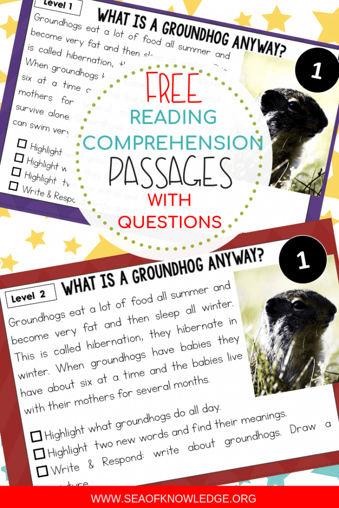 Kids will love these differentiated February Reading Comprehension Passages with Questions! Simple, no prep Groundhog and Leap Day Reading Passages! Need engaging passages that kids would actually want to read? Need leveled passages to reach all students? Look no further! Download your free copy of these reading comprehension passages here! #teacher #firstgrade #kindergarten #ESL #readingcomprehension