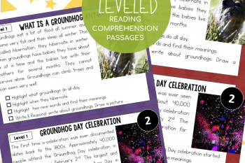 Groundhog and Leap Day Reading Comprehension Passages with Questions Differentiated Texts!