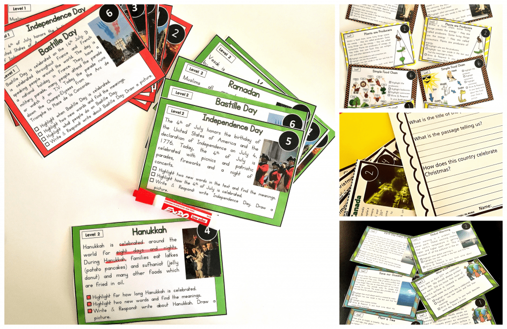 This nonfiction reading comprehension Leveled Reading Passages bundle will be all you need throughout the year. Teach and bring mundane nonfiction topics to life with these fun printable multi-use task cards! There are some great strategies you can incorporate to help you enhance your students' reading comprehension skills. Students should be able to 'question' things during the phases of pre-reading, while reading and after reading. These 'questioning techniques' help them further understand the text and hence improve their reading comprehension skills. Click through to watch the video and learn some great tips to help you in your daily teaching! #teacher #firstgrade #ESL #kindergarten