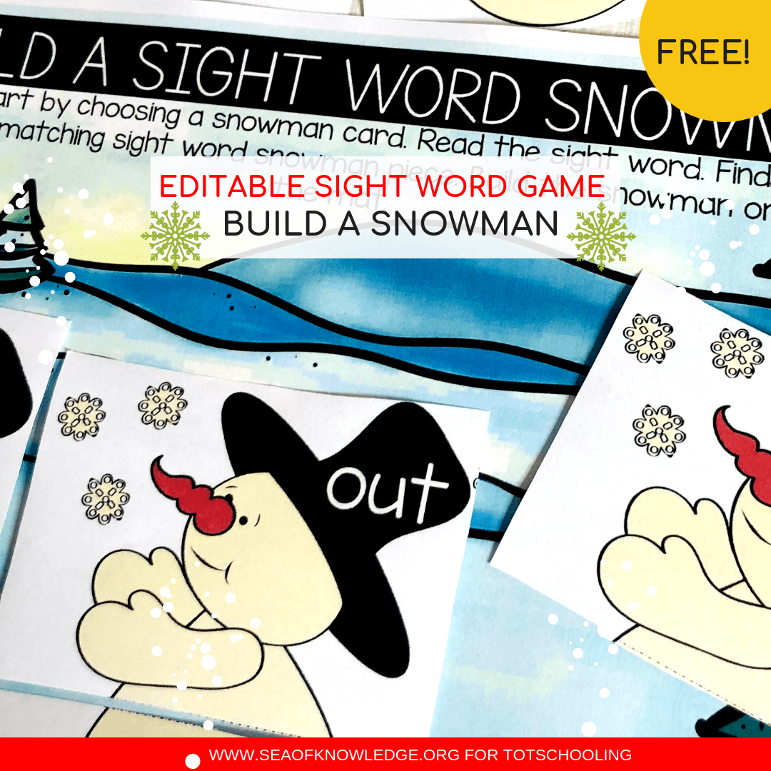 Snowman Free Sight word worksheets – Editable Fun Hands-on Reading Mats!