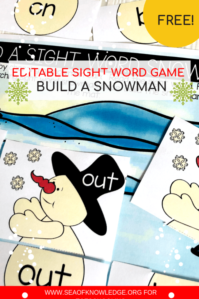 Kids will love these hands-on Snowman Free Sight Word Worksheets! They will get to build snowmen, read and match sight words. Download your free templates from the linked post! #kindergarten #sightwords #preschool #freeprintables #free #kids #teachers