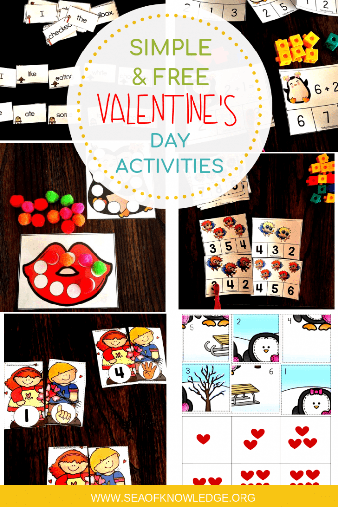 Simple and no prep Valentine's Day Activities for Kids that you can use pronto! Get your FREE copies of teacher tested hands-on activities for February. #freeprintable #free #kidsactivities #valentine #teacher #kindergarten #firstgrade #preschool
