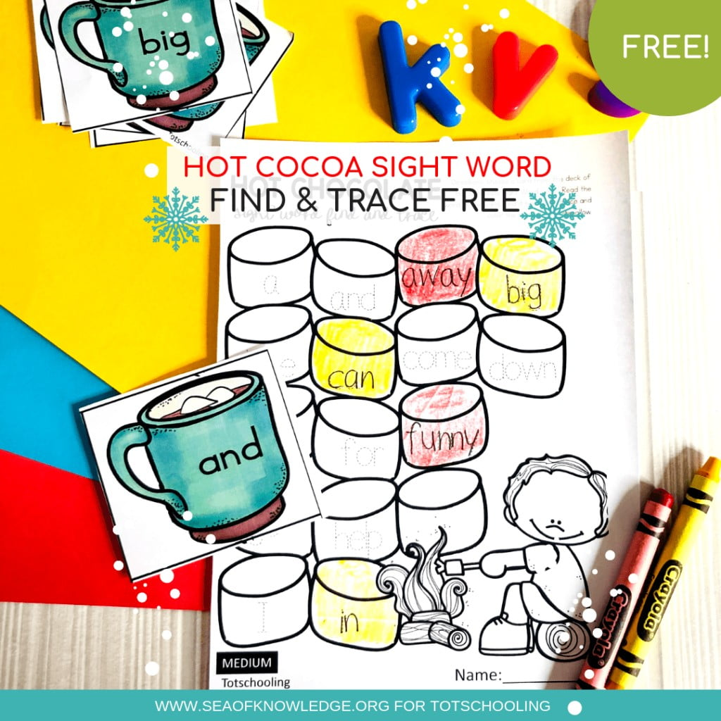 These Hands-on Winter Free Sight Word Worksheets will engage ALL your kids no matter their level. They will read, search for and trace the matching sight word all with a fun hot cocoa theme! #freeprintable #teachers #preschool #kindergarten #sightwords