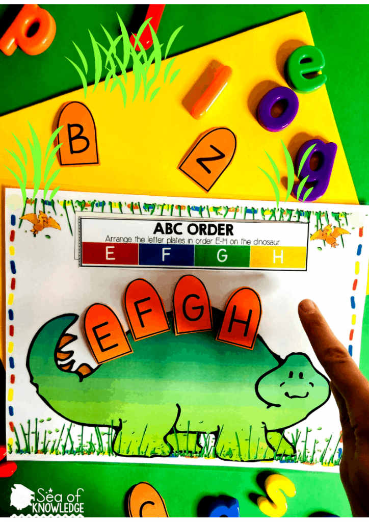 Kids will identify the order of the letters found on the directions strip at the top (there are about 6 direction strips for number, alphabet order and name activities). You place that on the mat and have the child read the letters in order; they will then find the 'plate letter cards' that correspond to that order and place them on the dinosaur. They will then identify the sequence and repeat it orally. Need a quiet book that requires no sewing? Fun, fine motor Dinosaur Printable Learning Book! Differentiate this and use it with kids ages 3-5. Get your book inside! #dinosauractivities #busybook #preschool #preschoolteacher