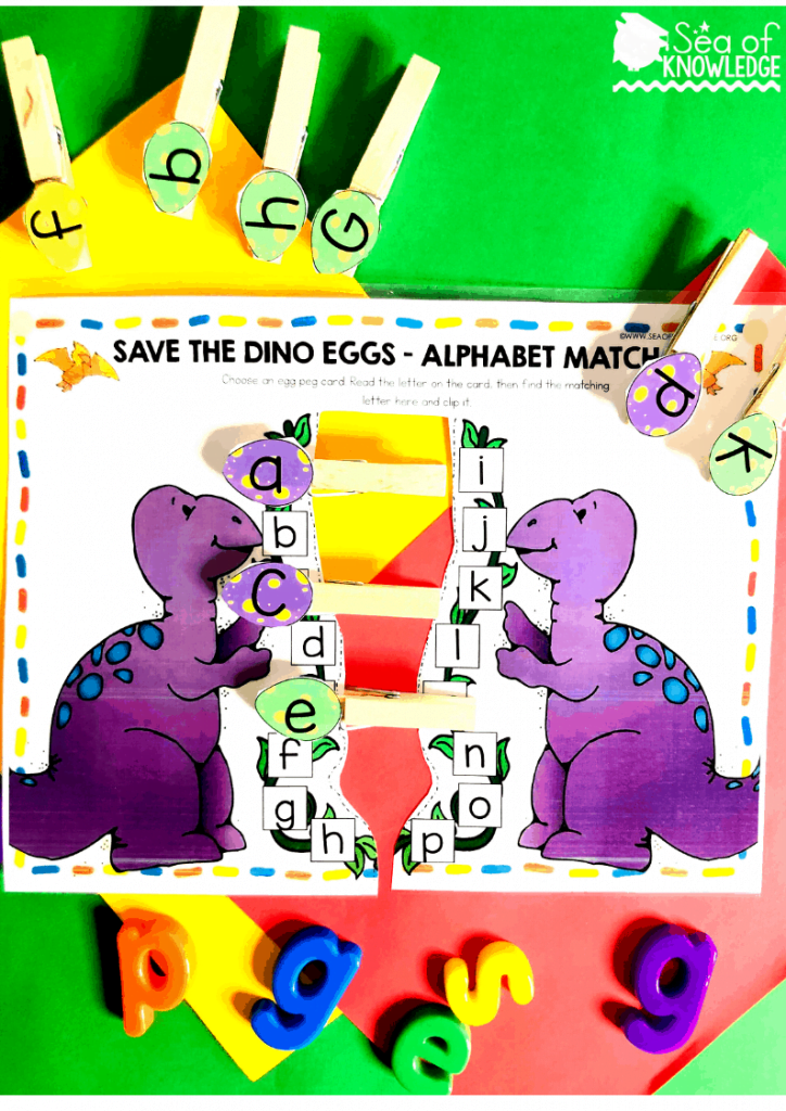 This fun, fine motor activity will get little learners working on their fine motor skills as well as their alphabet recognition skills. Program a set of pegs with alphabet 'egg' cards and then cut the mat in half as show below (along the dotted lines). Get the kids to work on one side as a time as the pegs may clash. There are UPPERCASE and LOWERCASE letter cards as an option so you're easily able to differentiate this activity. Need a quiet book that requires no sewing? Fun, fine motor Dinosaur Printable Learning Book! Differentiate this and use it with kids ages 3-5. Get your book inside! #dinosauractivities #busybook #preschool #preschoolteacher