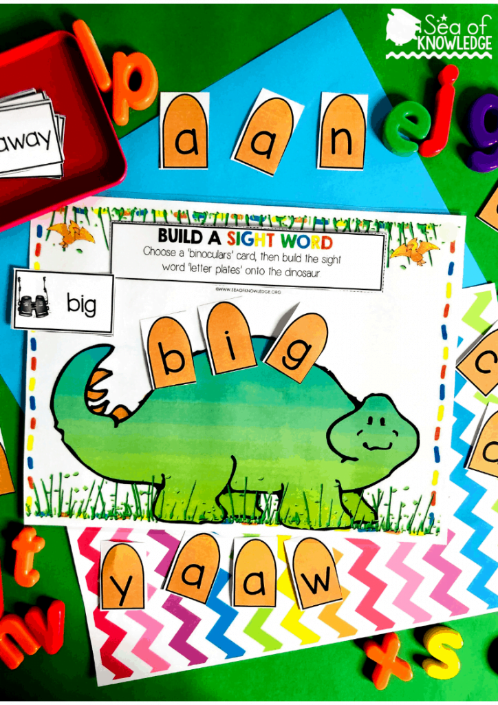 This activity can be used with preschoolers aged 4 and kindergarten kids aged 5. They will pick a sight word card, then read the word and build it using the letter 'plate' cards given. You can even use letter magnets for this if you prefer. Need a quiet book that requires no sewing? Fun, fine motor Dinosaur Printable Learning Book! Differentiate this and use it with kids ages 3-5. Get your book inside! #dinosauractivities #busybook #preschool #preschoolteacher