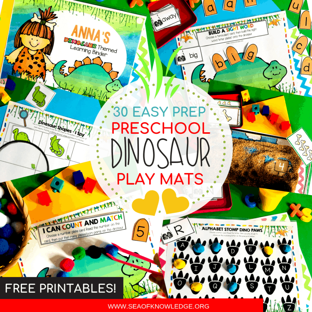Need a quiet book that requires no sewing? Fun, fine motor Dinosaur Printable Learning Book! Differentiate this and use it with kids ages 3-5. Get your book inside! #dinosauractivities #busybook #preschool #preschoolteacher