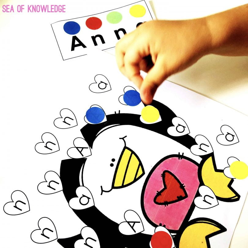 Valentine Letter Name Identification Sticker Activity