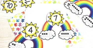 Ten Frame Rainbow Counting Puzzles