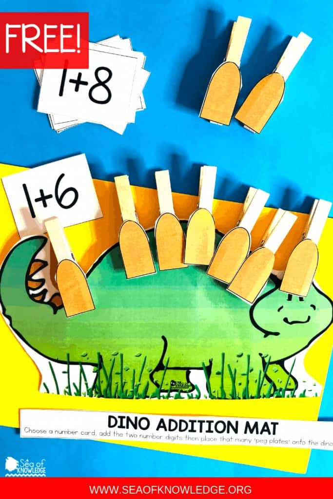 Dinosaur Printable Learning Book (FREE counting and addition mat)