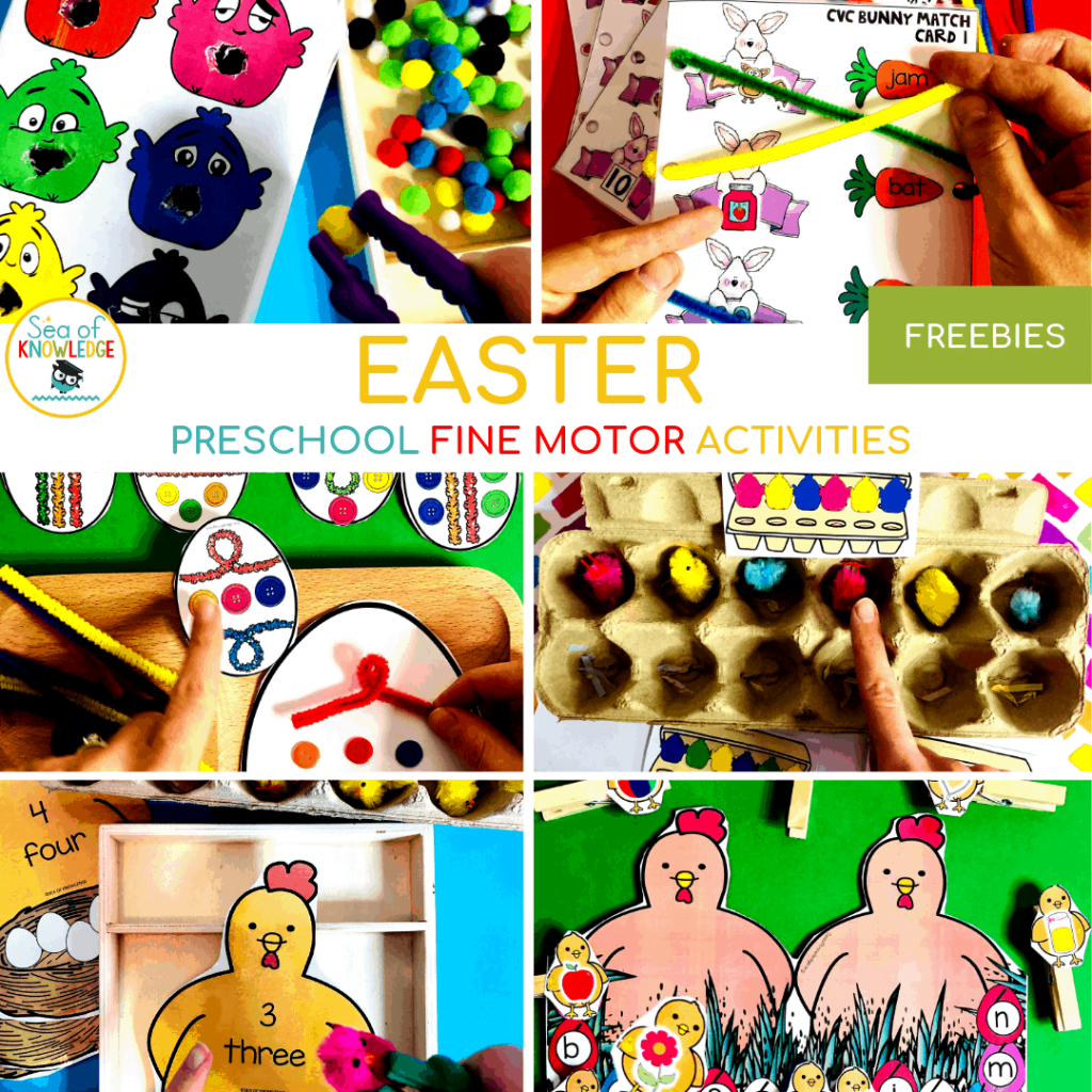Kids love getting into different holiday themes! Below you will find some Fantastic Fine Motor Easter Centers for Preschoolers which are fun and engaging to help you plan your Easter activities this year! Oh, and be sure to grab the free printable Feed the Chicks Colour Match - Pom Pom Tissue box Template at the bottom of the post!