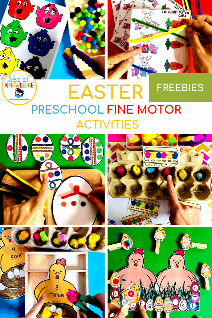 Kids love getting into different holiday themes! Below you will find some Fantastic Fine Motor Easter Centers for Preschoolers which are fun and engaging to help you plan your Easter activities this year! Oh, and be sure to grab the free printable Feed the Chicks Colour Match - Pom Pom Tissue box Template at the bottom of the post! #preschoolteachers #prek #homeschoolteachers #kidsactivities #freeprintables