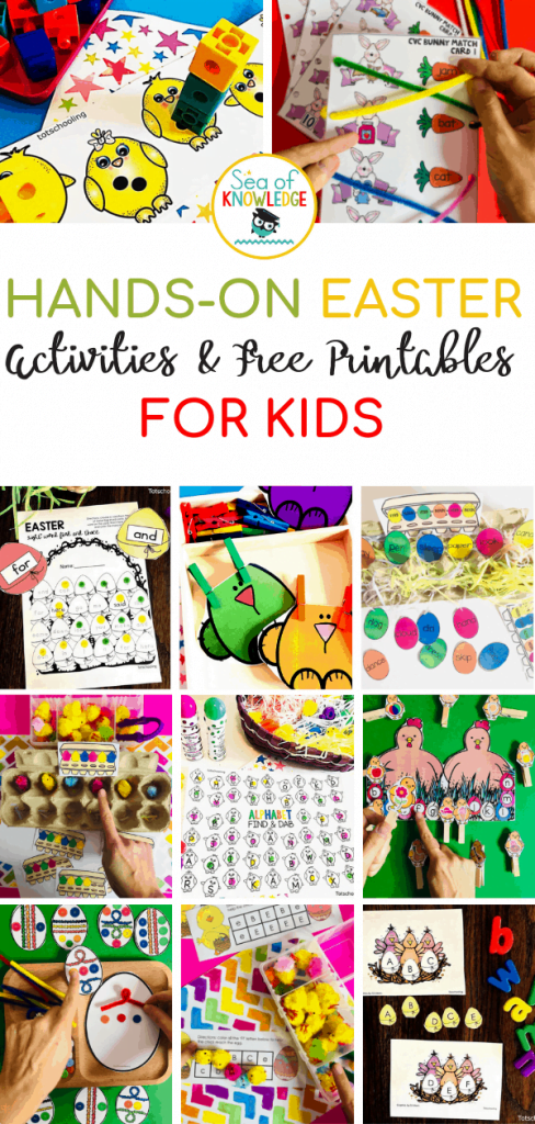 Fantastic Hands-on Easter Activities for Kids. Looking for the ultimate list of fun Easter activities for kids? This post will lead you to math, literacy and fine motor activities to suit kids aged between 3-6! Read on and click on each image or link to take you to the post with the printable! #easter #freeprintable #kidsactivities #preschool