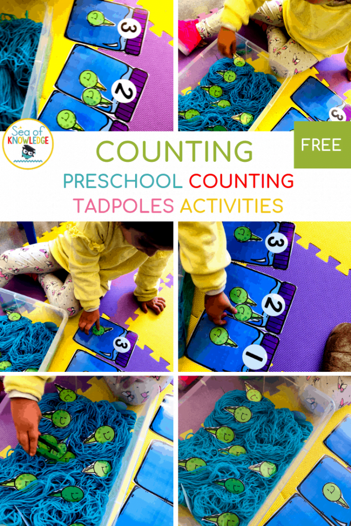 Looking for FUN Counting to 30 Activities? And more ways to encourage preschool and kindergarten kids to practice counting? Kids will love catchin' tadpoles in this fun sensory bin count and play project! #math #freeprintable #kidsprintable