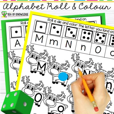 Reindeer Alphabet Recognition Activities – Roll, Find and Colour!