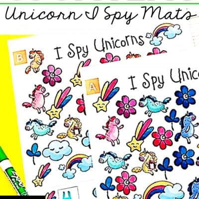 Unicorn I Spy Teaching Number Sense Printable Mats to Motivate Any Child to Count!