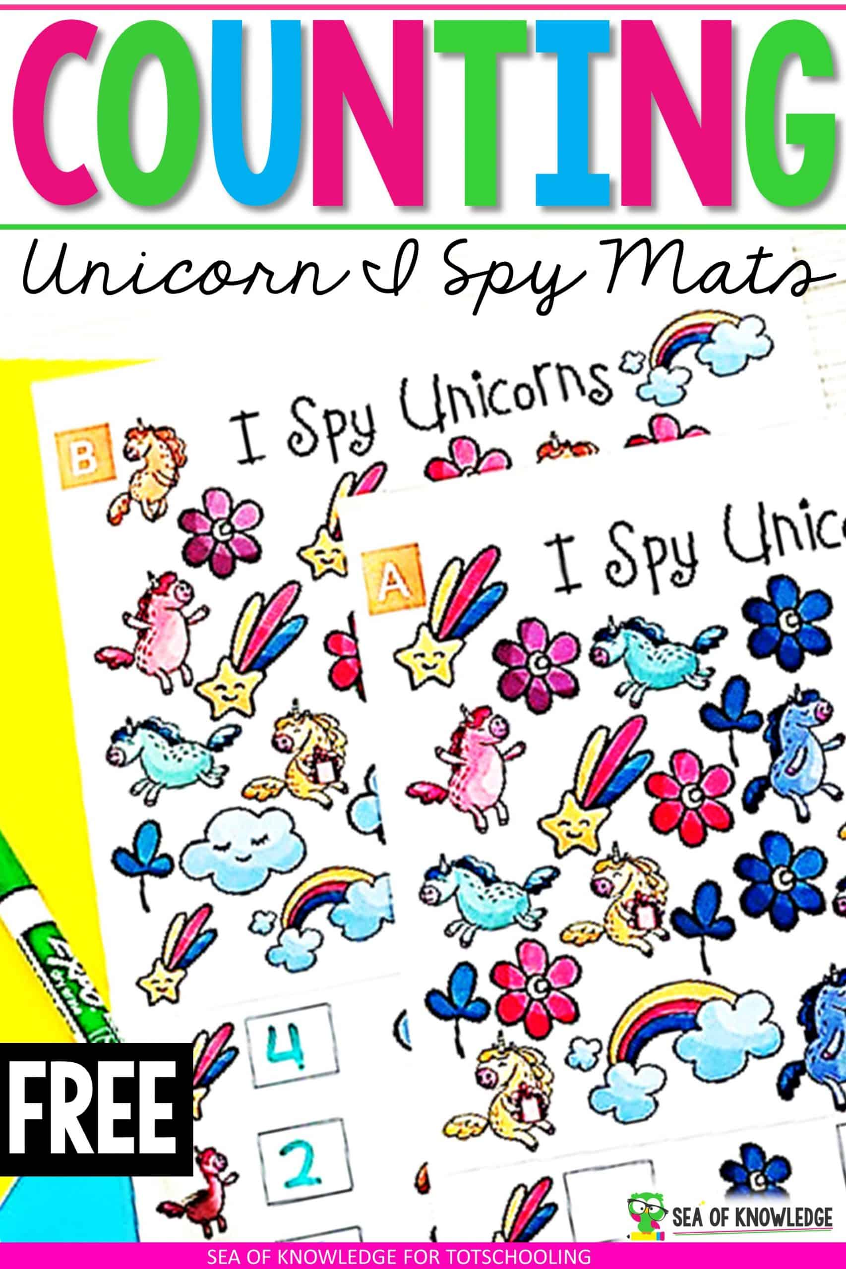 This Unicorn I Spy Teaching Number Sense Printable Mats will sure be a hit with your little learners! Looking for a fun way to get kids to count and show their numbers? These fun unicorn themed mats are perfect for that. Learners will count to find the number of each unicorn image on the mat and then write the digit below.