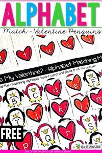 Valentine Penguins Alphabet Matching Cards
