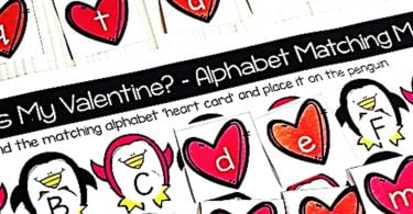 Valentine Penguins Alphabet Matching Cards