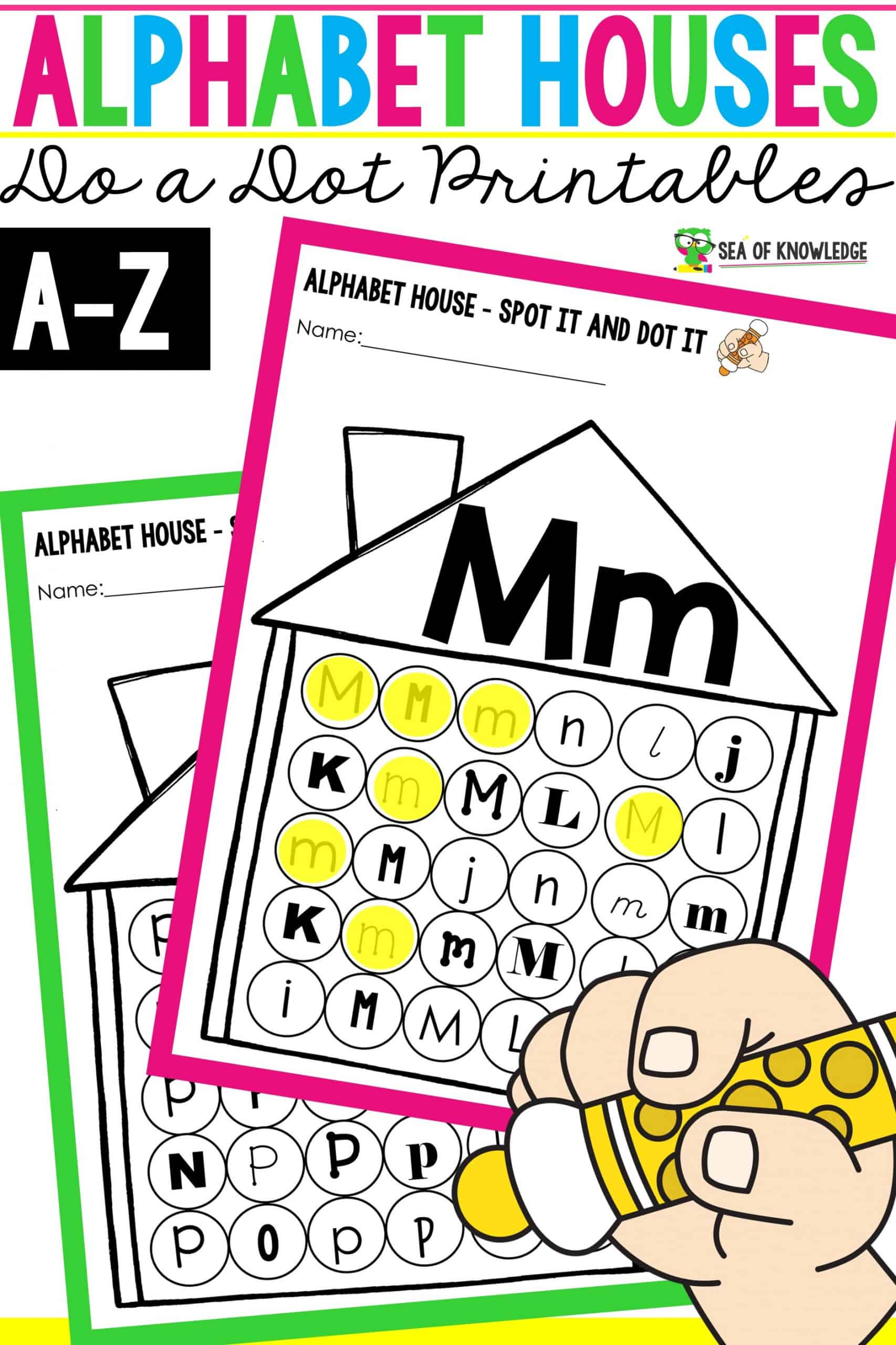 Looking for a fun way to get kindergarten kids to learn to letter recognition and practise fine motor skills at the same time? This Alphabet Dab a Dot Printable Book includes A-Z printable pages that features houses and dab circles for the kids to identify and dab the featuring letter.
