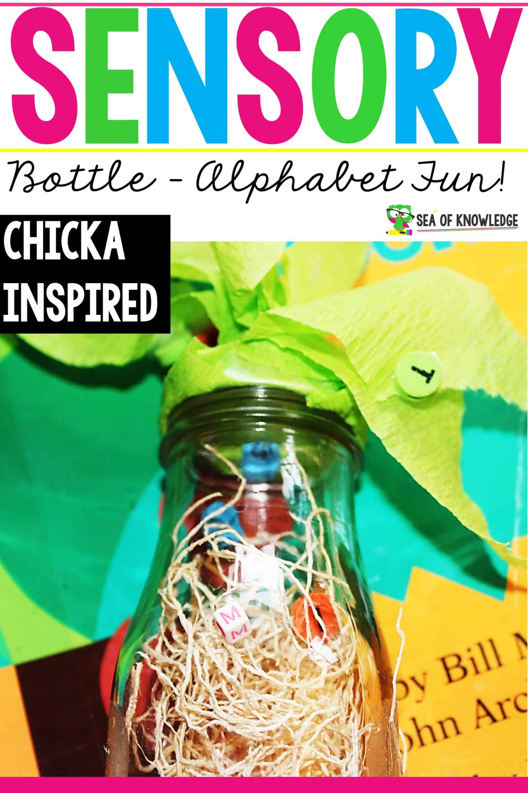 Looking for a super simple and easy Chicka Chicka DIY Alphabet Sensory Bottle that would go so easily with the super popular book Chicka Chicka Boom Boom? Kids LOVE this book, capitalise on this by providing even more fun activities to go along the book afetr reading it!