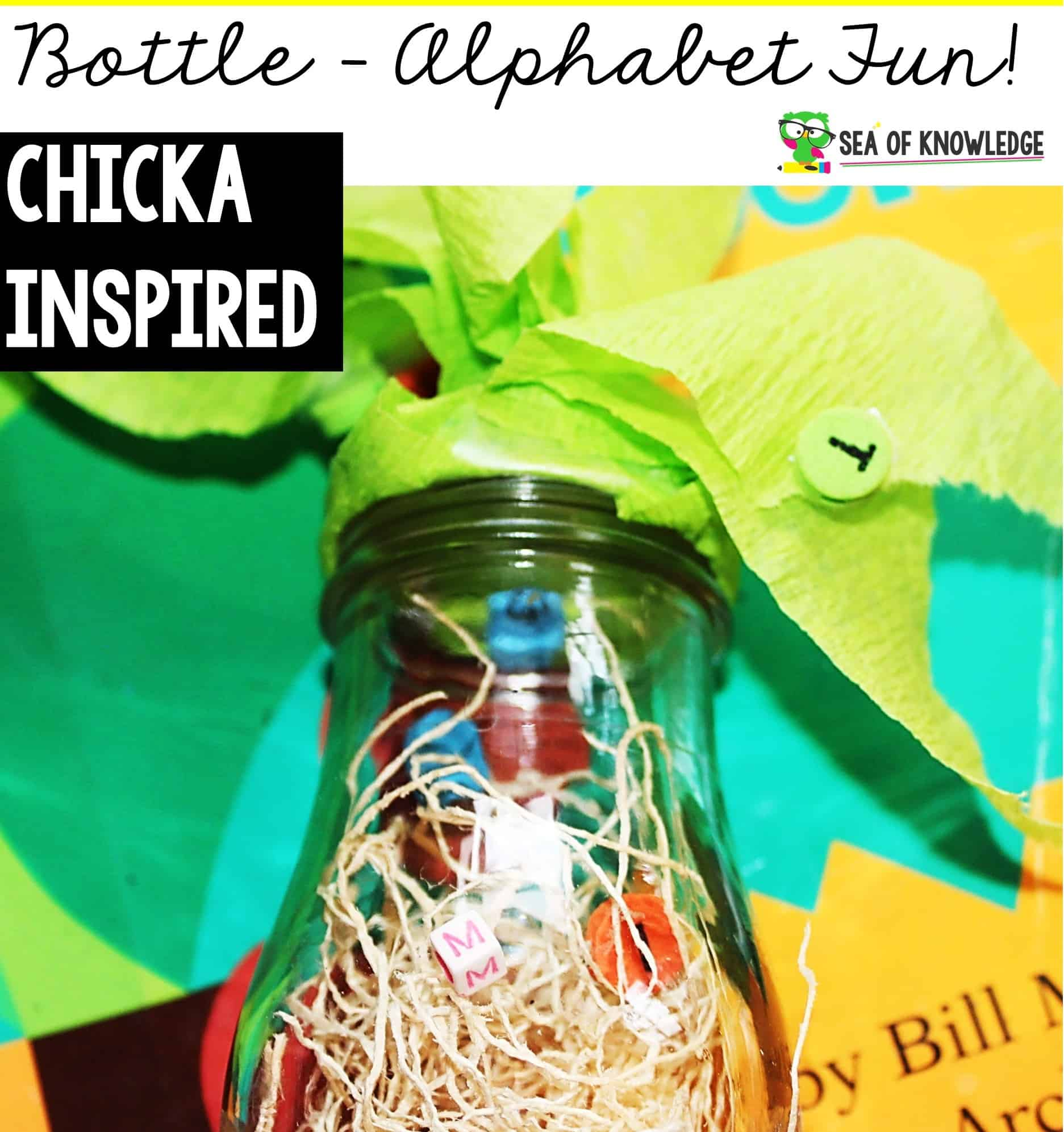 Looking for a super simple and easy Chicka Chicka DIY Alphabet Sensory Bottle that would go so easily with the super popular book Chicka Chicka Boom Boom? Kids LOVE this book, capitalise on this by providing even more fun activities to go along the book after reading it!