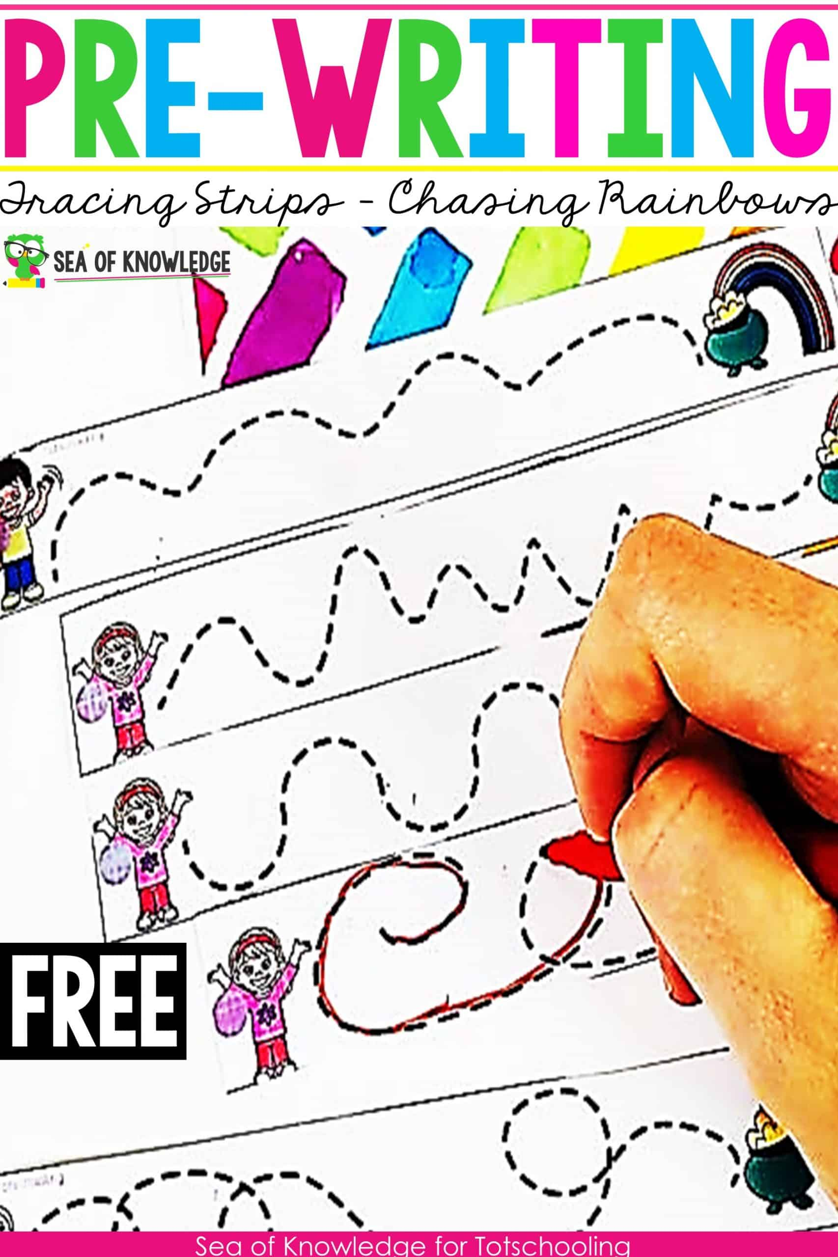 Kids not ready to write yet? Then you must try these super fun Rainbows Pre-writing Activities for Preschoolers! They are a quick print and go activity which you can also turn into laminated, printable strips to be added to busy bags, file folders and more! If you're looking for ways on How to Improve Fine motor skills, you're also in the right place!