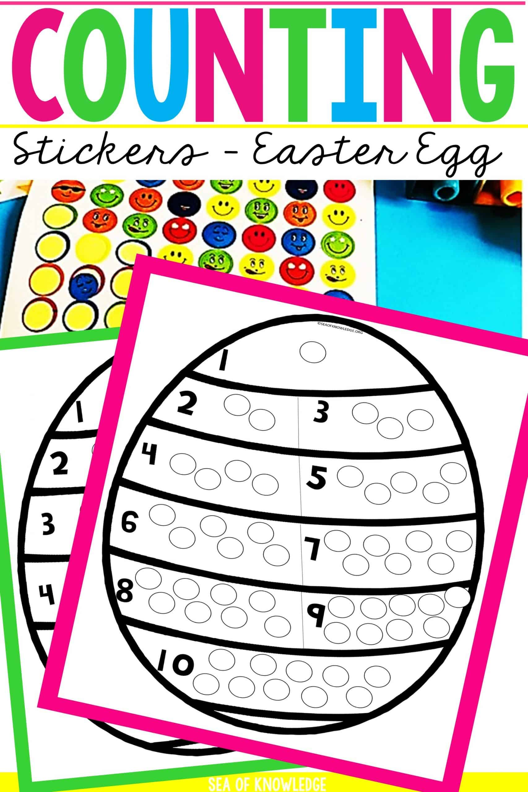 This Counting 1 to 10 Dot Stickers Easter Eggs activity will sure be a hit with your little learners! Looking for a fun way to get kids to count and show their numbers? These fun Easter egg themed printable cards are perfect for that. Learners will identify the number on each section and then place that many dot stickers to fill the 'dots on their Easter eggs to decorate them'.