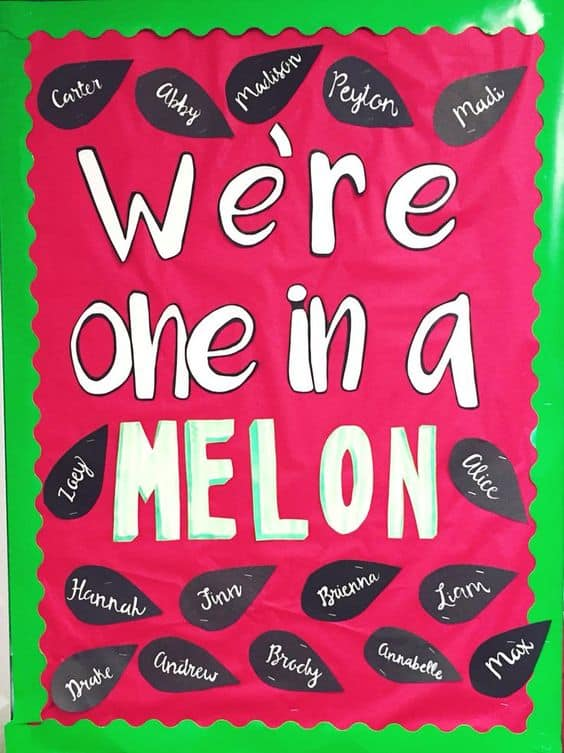 Looking for some super cute watermelon bulletin board ideas? Look no further, I have a set of fun ideas that you can use right at the start of school or when you return to school. I always find that the beginning of school is a cross between warm sunny days and cooler days. So a watermelon theme is so cute for that time of year, however it can be used at any time during the year.