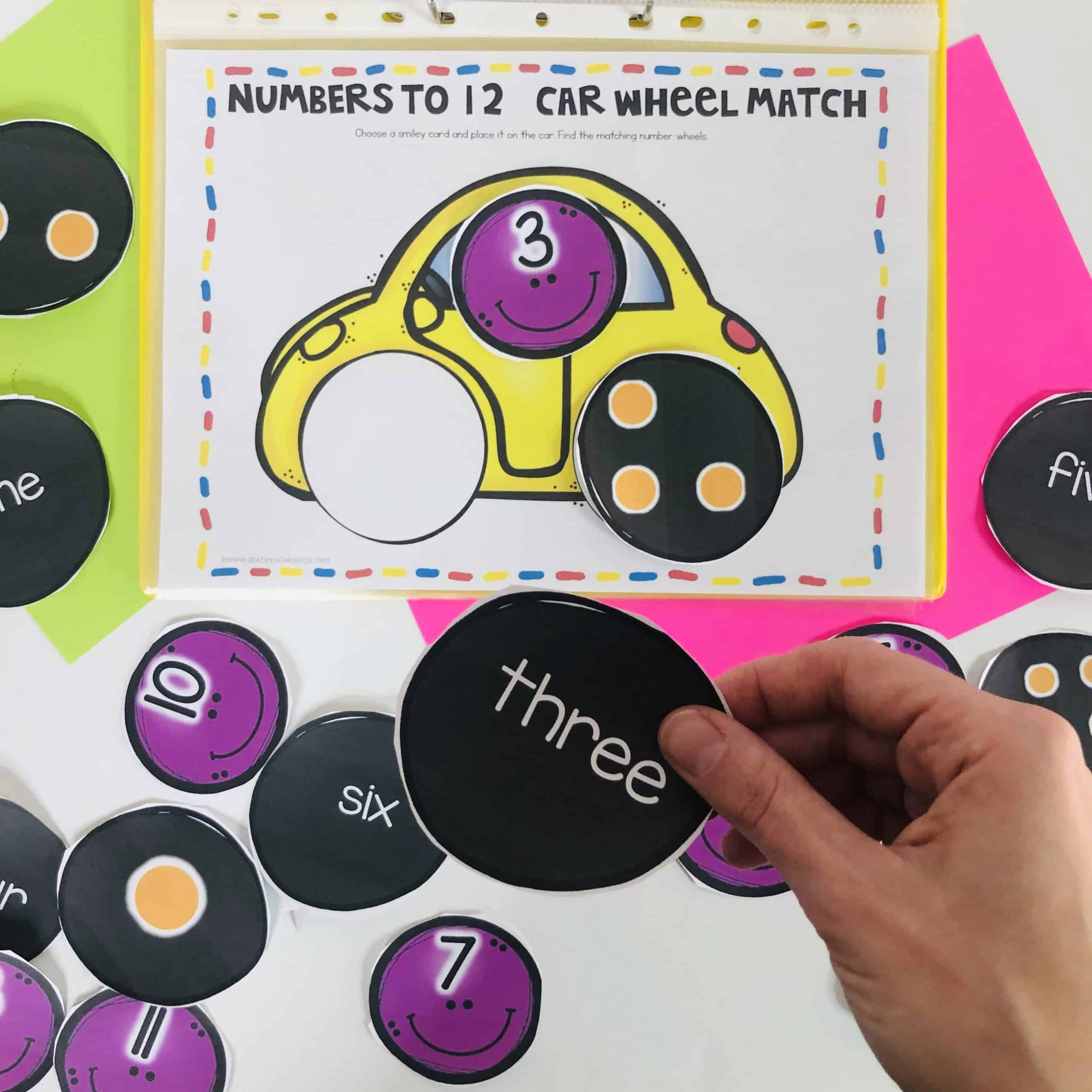 These Numbers 1-10 Busy Book Printable Car Wheel Match mat is the perfect addition to your busy book binder. Have the kids work on matching number digits, number words and one-to-one correspondence by using these super fun car themed printable mat. Place it into a plastic sleeve and you're set!